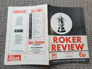 Match Programme Sunderland v Reading FA Cup 4th round 1972/3