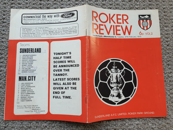 Match Programme Sunderland v Manchester City FA Cup 5th Round Replay 1972/3