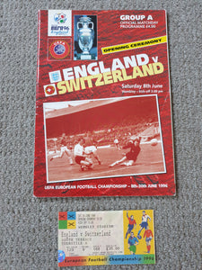Match Programme England v Switzerland Euro 96 @Wembley includes match ticket