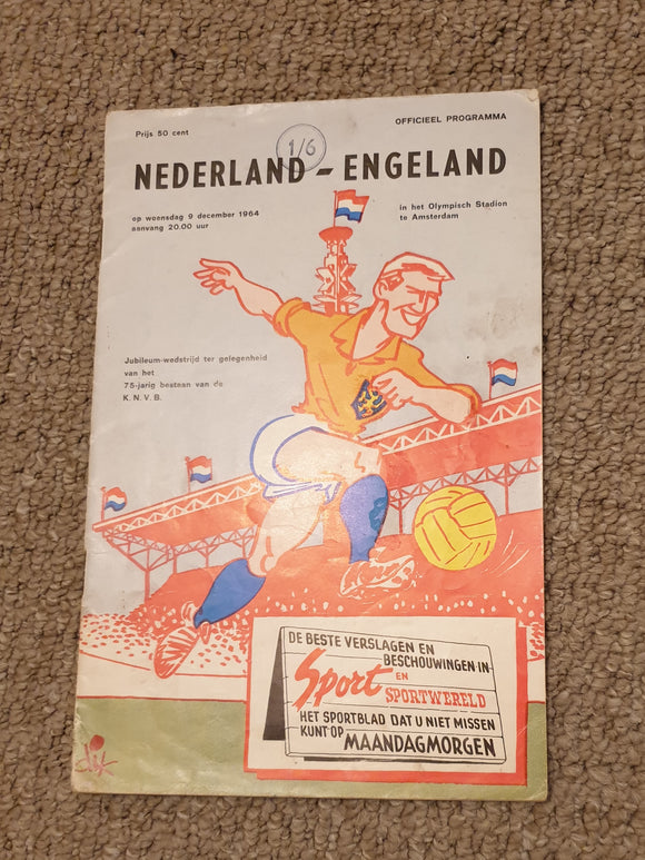 Match Programme Holland v England 1964