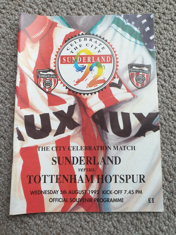 Match programme Sunderland v Tottenham 1992/93 City Celebration Match