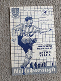 Match Programme Sheffield Wednesday v Aston Villa 1960/61