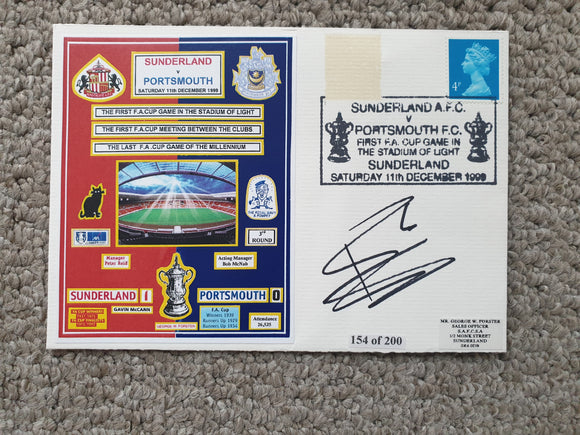 First Day Cover Sunderland v Portsmouth FA Cup 1999/00 Signed 154/200