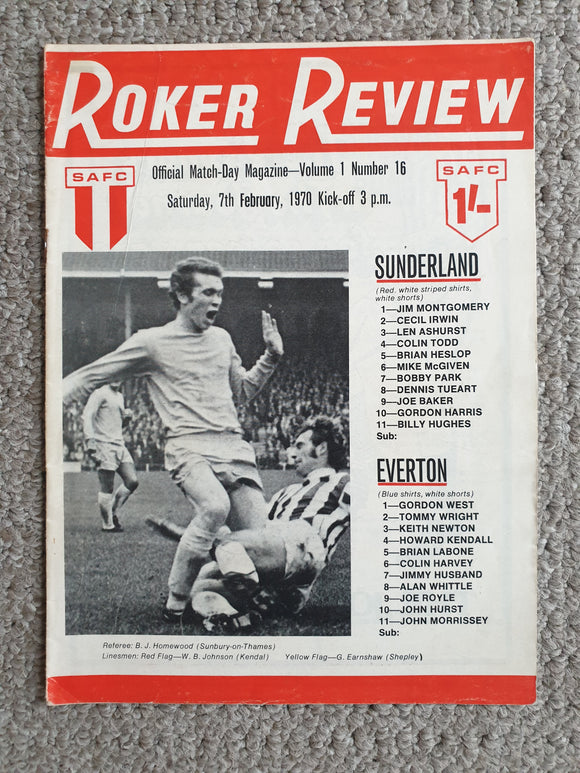 Match Programme Sunderland v Everton 1969/70 Very Rare Postponed issue Feb 1970