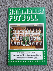 Match Programme Hammarby IF v Sunderland Friendly Match October 1984