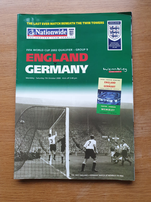 Match programme England v Germany 2000 Last Under the Twin Towers