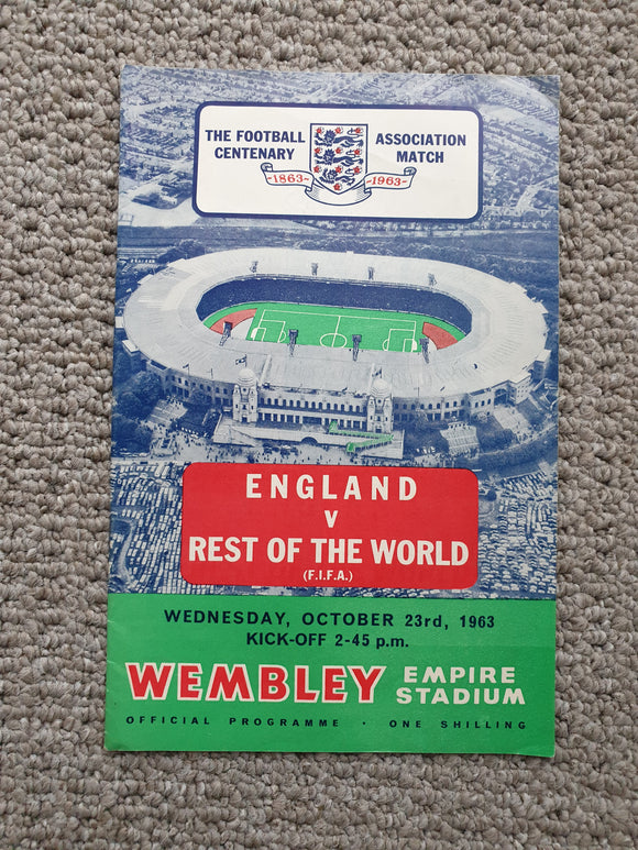 Match Programme England v Rest of The World 1963