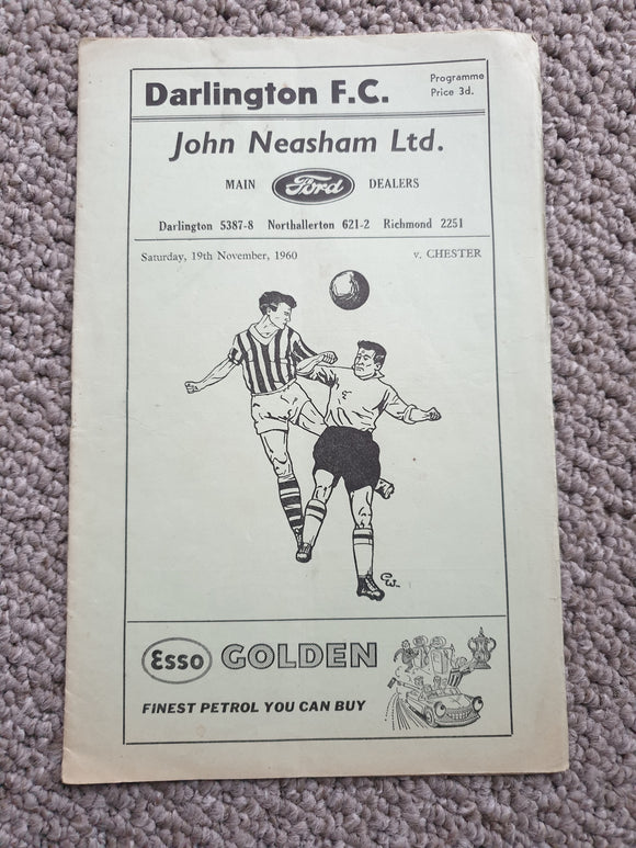 Match programme Darlington v Chester 1960/1