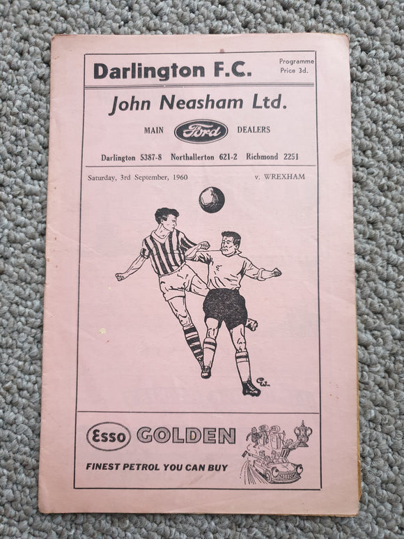 Match Programme Darlington FC v Wrexham 1960/1