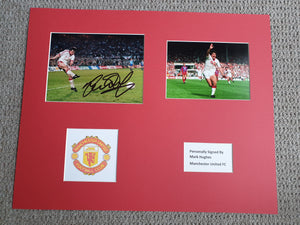 Signed and Mounted Display Mark Hughes Manchester United 1990 & 91