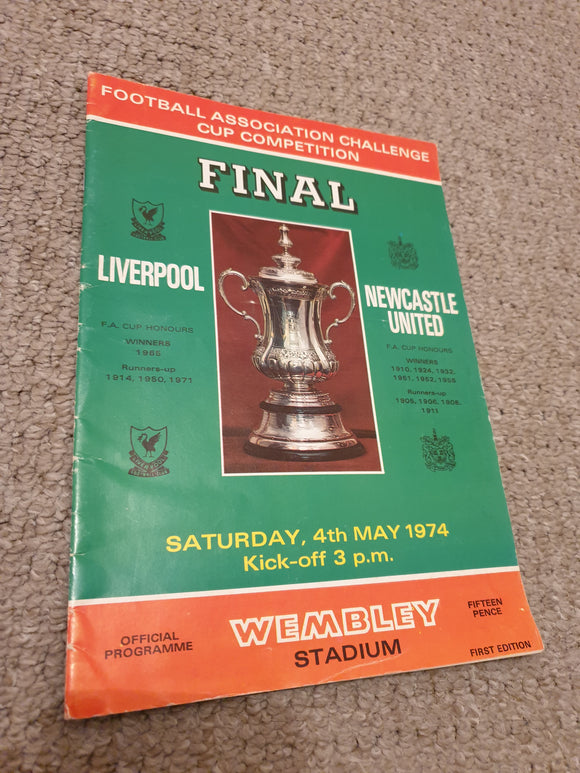Match Programme Liverpool v Newcastle Utd 1974 FA Cup Final