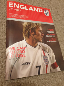 Match Programme England v Turkey 2003 @Sunderland Stadium of Light