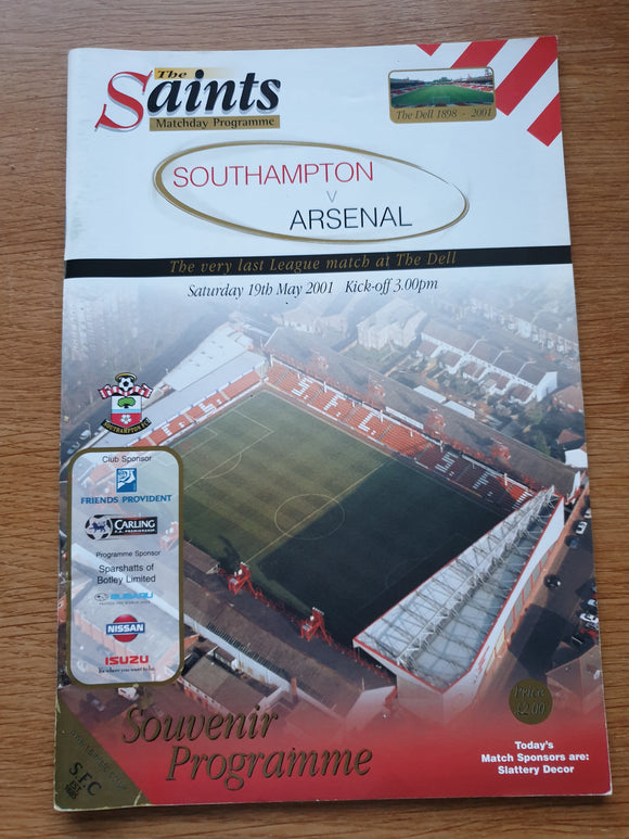 Match Programme Southampton v Arsenal 2000/1 Last Ever League Match at The Dell