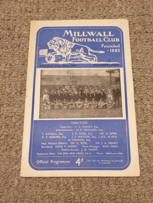 Match Programme Millwall v Sunderland 1957/58 Mid season friendly