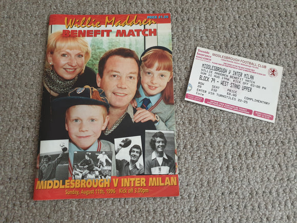 Match Programme Middlesbrough v Inter Milan Willie Maddren Testimonial + ticket 1996
