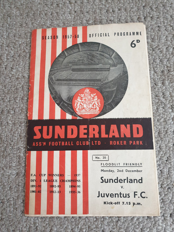 Match Programme Sunderland v Juventus 2nd December 1957 Floodlight Friendly