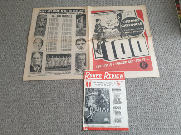 Newspaper Sunderland v Newcastle Utd Centenary Derby Match Souvenir 27th March 1970 with match programme