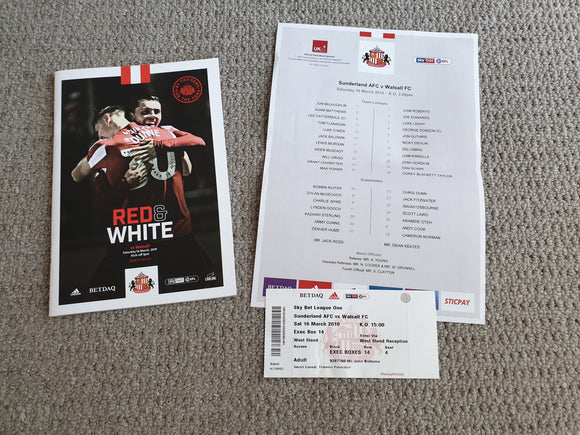 Matchday Programme Sunderland v Wycombe Wanderers 16/03/2019 teamsheet & ticket