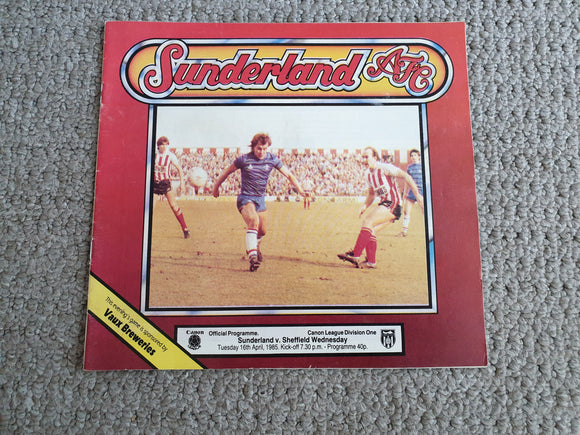 Matchday Programme Sunderland v Sheffield Wednesday 1984/5