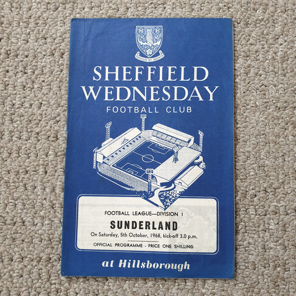 Match programme Sheffield Wednesday v Sunderland 1968/89