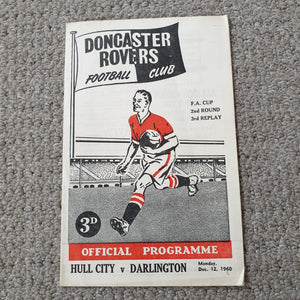 Match programme Hull City v Darlington FA Cup @Doncaster Rovers FC