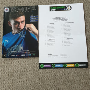 Match Programme Rangers v Berwick Rangers League Cup 2013/14 inc Team sheet