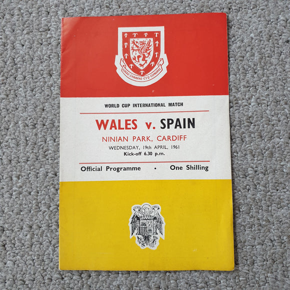 Match Programmes Wales v Spain WCQ International 1961