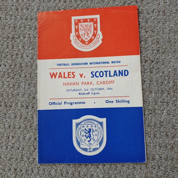 Match Programme Wales v Scotland 1964 Full International