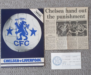 Match Programme Chelsea v Liverpool 1977/8 League Match with Ticket & Newspaper Match Report