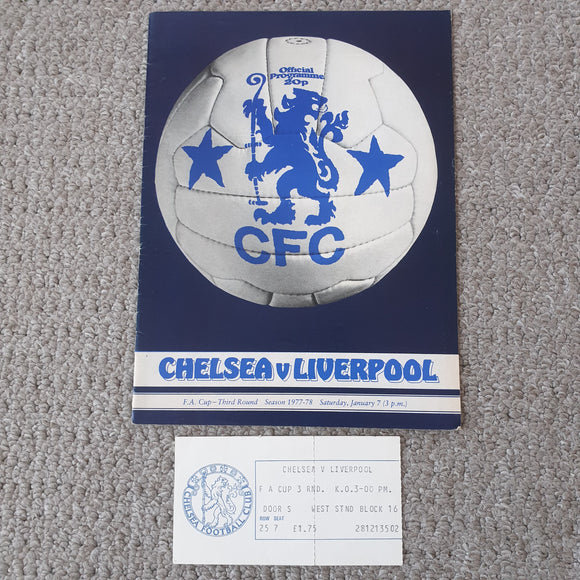 Match Programme Chelsea v Liverpool 1977/78 FA Cup with ticket and match report