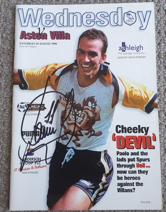 Match Programme Sheffield Wednesday v Aston Villa 1998/99 SIGNED Paolo Di Canio