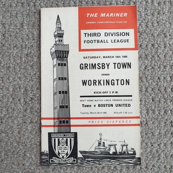 Match Programme Grimsby Town v Workington Town 1965/66