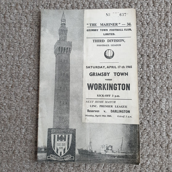 Match programme Grimsby Town v Workington Town 1964/5