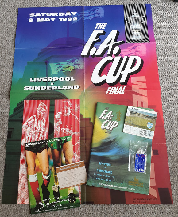 1992 Sunderland FA Cup Programmes & Tickets COMPLETE RUN