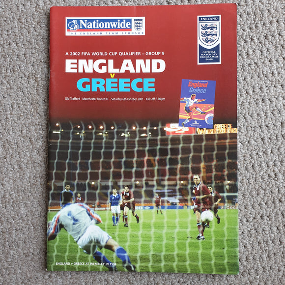 Match Programme England v Greece 2001 World Cup