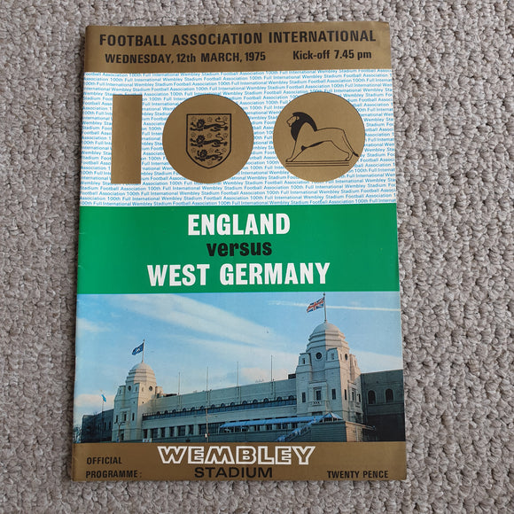 Match Programme England v West Germany 1975