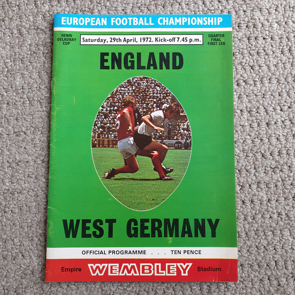Match Programme England v West Germany 1972