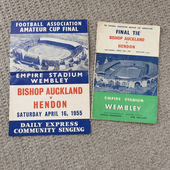 Match Programme Bishop Auckland v Hendon 1955 FA Amateur Cup Final with Songsheet