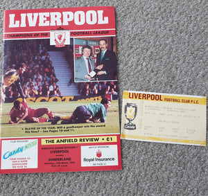 Match programme Liverpool v Sunderland 1990/91 inc Match Ticket