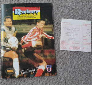 Match Programme Sunderland v Exeter City League Cup 1989/90 inc Match Ticket