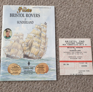 Match Programme Bristol Rovers v Sunderland 1991/2 inc Match Ticket