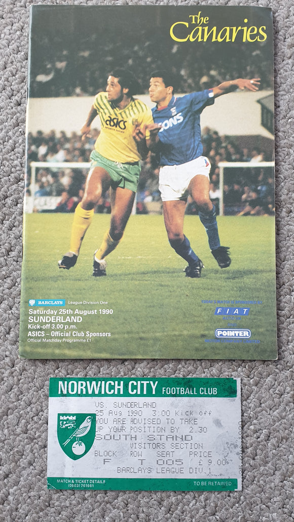 Match Programme Norwich City v Sunderland 1990/1 inc Match Ticket