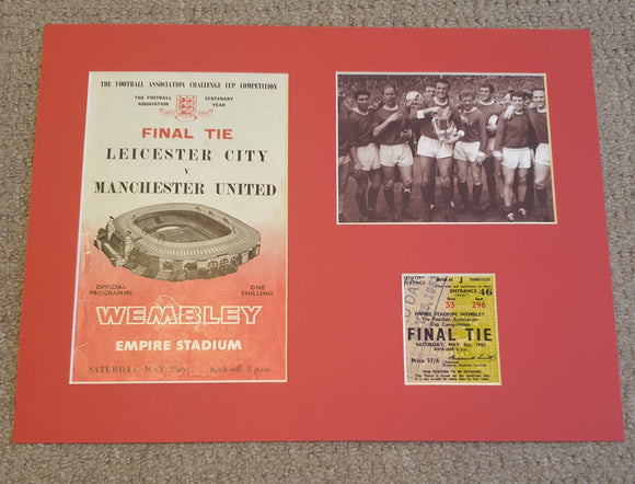1963 FA Cup Final Manchester United Programme and ticket display