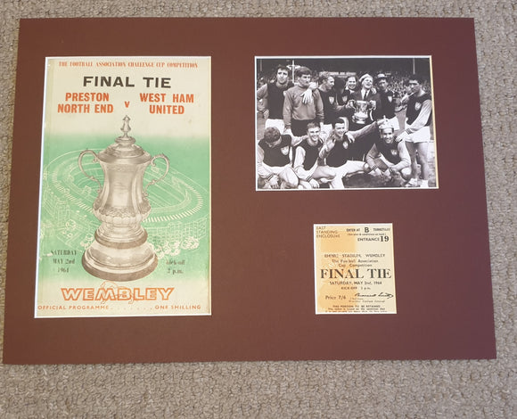 1964 FA Cup Final West Ham Utd Programme and ticket display