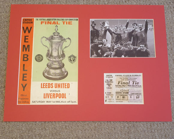 1965 FA Cup Final Liverpool FC Programme and ticket display