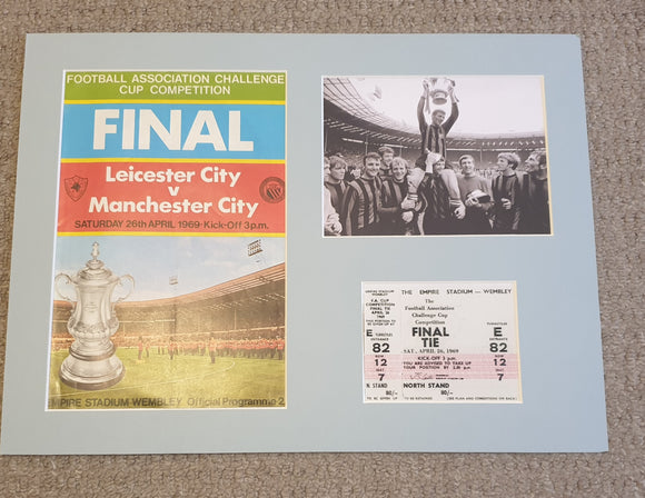1969 FA Cup Final Manchester City Programme and ticket display