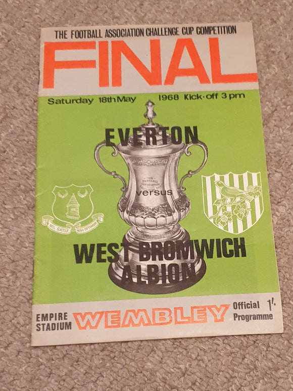 Match Programme Everton v West Bromwich Albion 1968 FA Cup Final