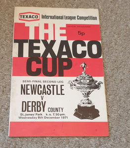 Newcastle United v Derby County Texaco Cup Semi Final 1971
