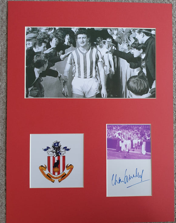 Sunderland Charlie Hurley Signed Display 16x12