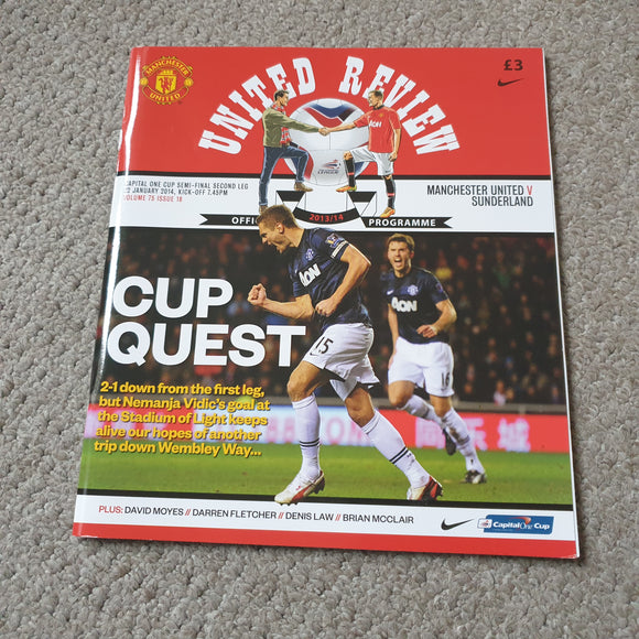 Manchester United v Sunderland Carling Cup Semi Final 2014